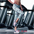2017 Printed Women's Sports Fitness Elastic Leggings Stretched Gym Athletic Quick Dry Yoga Nine Minutes of Pants Free Shipping