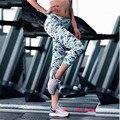 2017 impresso leggings esticada ginásio atlético esportes fitness elástico das mulheres nove minutos de calças de secagem rápida yoga frete grátis
