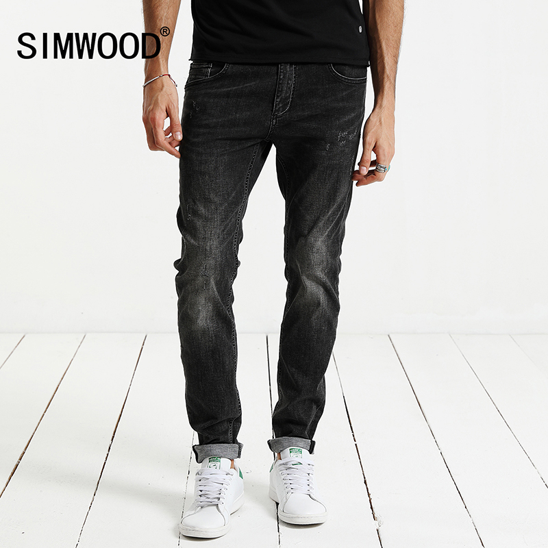 SIMWOOD 2017 Autumn Jeans Men Fashion Slim Fit Enzyme Wash Denim Trousers Plus Size Brand Clothing NC017006 men s cowboy jeans fashion blue jeans pant men plus sizes regular slim fit denim jean pants male high quality brand jeans