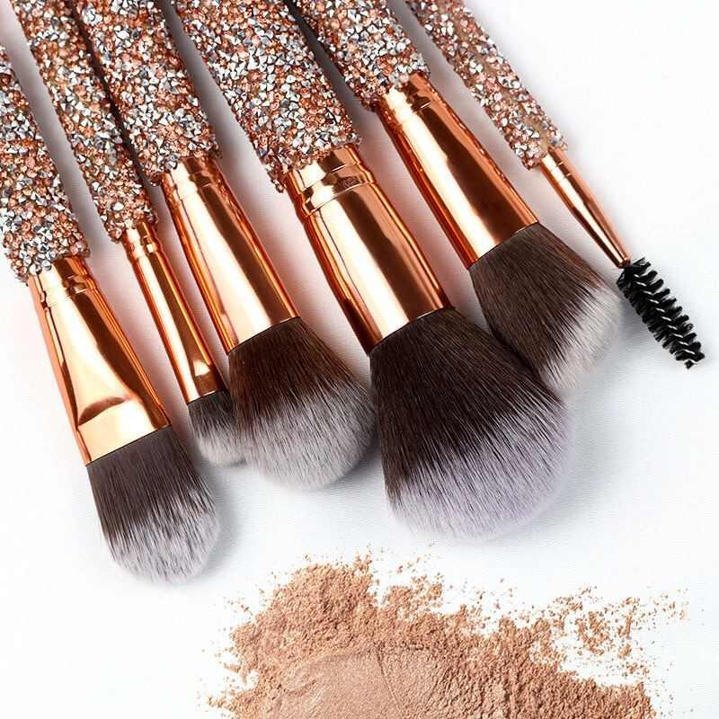 Горячая Распродажа, 10 шт./компл., набор кистей для макияжа с золотыми бриллиантами, кисть для пудры, кисть для лица с сумкой, набор инструментов для макияжа, maquillaje
