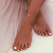 Boho Double Chain Anklet Dainty Bohemian Jewelry Ankle Bracelet For Women Foot Summer Barefoot Beach