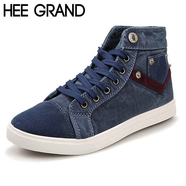 69c9081c8 HEE GRAND New Spring Men Canvas Shoes,Fashion Casual Shoes,Lace-up Flat