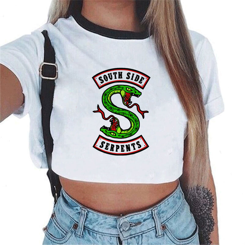 Women Fashion Riverdale South Side Serpents Printed Crop Top White T Shirts Short Sleeve Shirt Cropped Snake Print Tshirt Tees