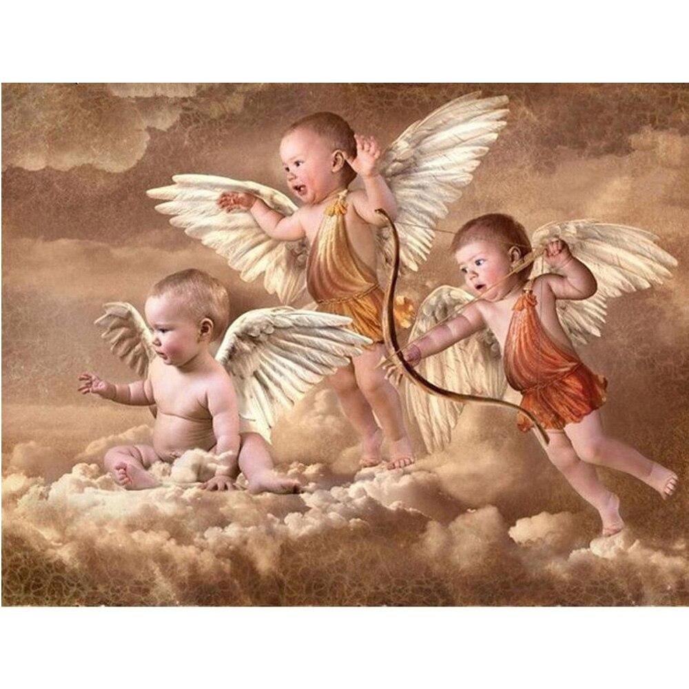 ᐂ5d DIY diamante pintura carácter tres ángeles de cristal Cuadros ...