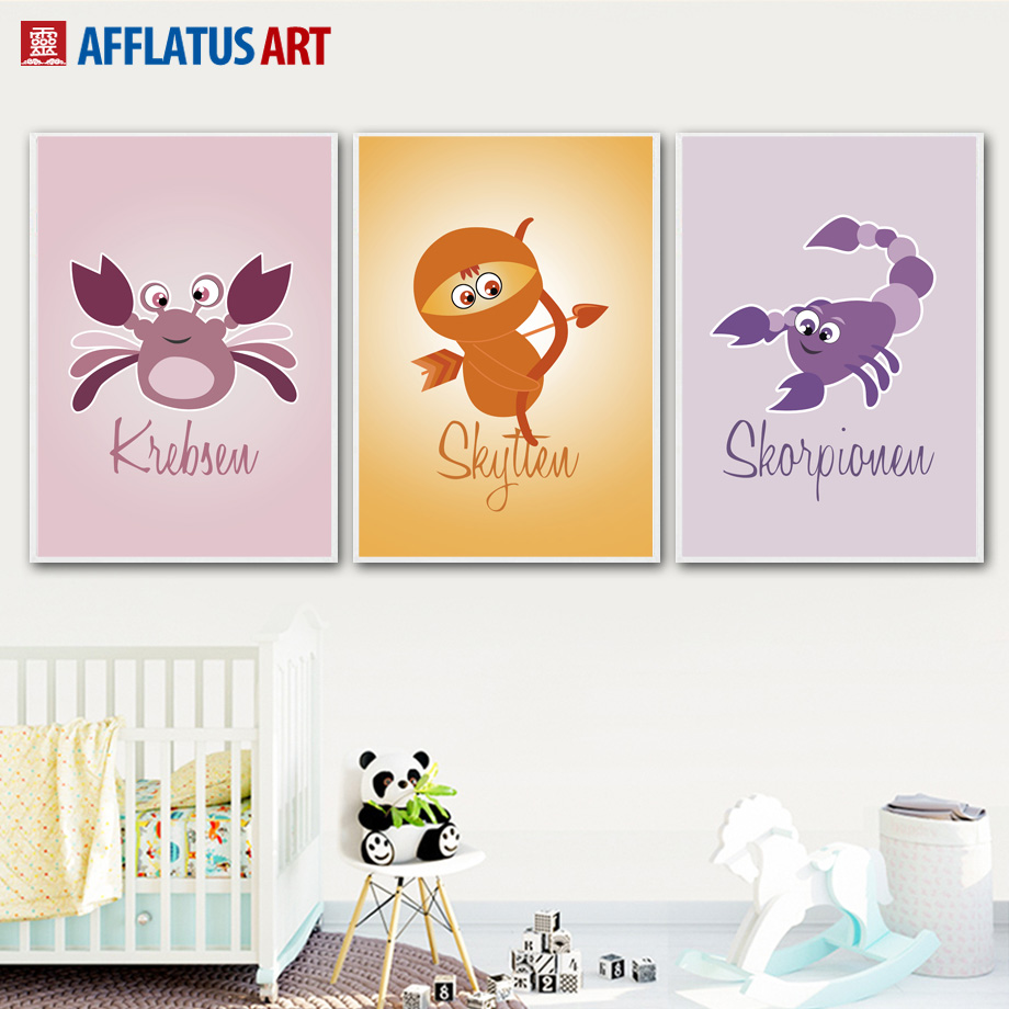 Cartoon Crab Scorpion Wall Art Canvas Painting Nordic Posters And ...