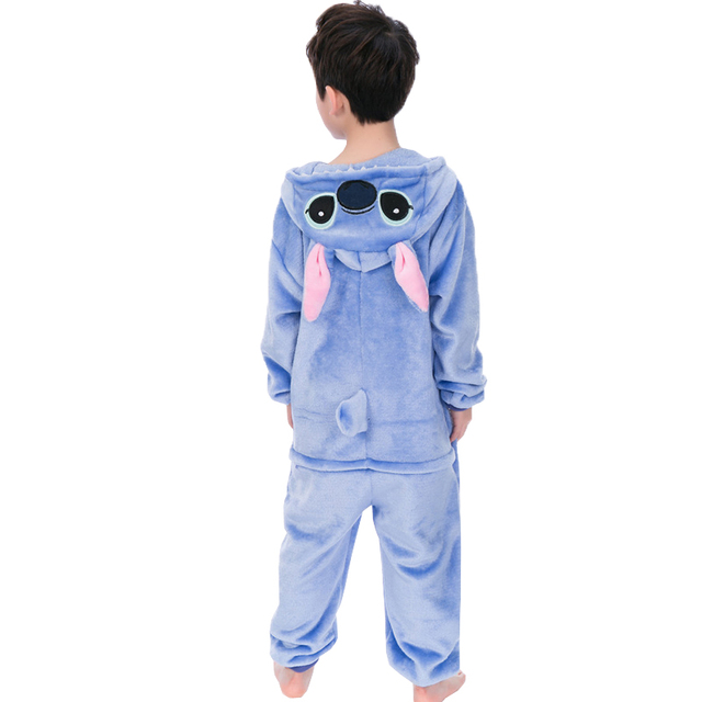 EOICIOI New Flannel Kids Pajamas Animal Unicorn Stitch Pikachu Cosplay Onesies Children Sleepwear For Boys Girls Pyjamas Hooded
