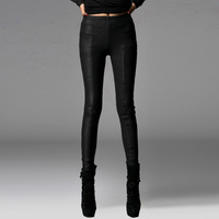 Punk Autumn Winter Warm Snakeskin Leather Casual Pants Sexy Slim Fit Women Tight Trousers Black Stretch