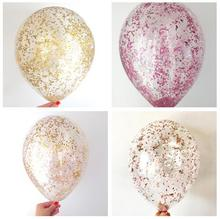 NEW ARRIVE!12inch Metallic Rose Gold Wedding Decoration Gold Clear Confetti Balloons First Birthday, Baby Shower Party Supplies