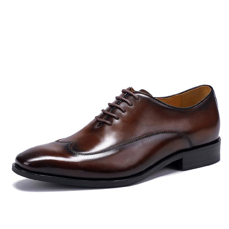 Marrón Formal Oficina Hombres Negro Black Cuero Genuino Vestido De Zapatos brown Superior Más Los 38 Tamaño Calidad Oxfords 46 Zw1xRO