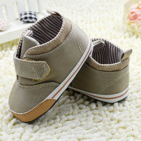 Newborn Baby Boys Cotton Ankle Canvas High Crib Shoes Casual Sneaker Toddler First Walkers 3