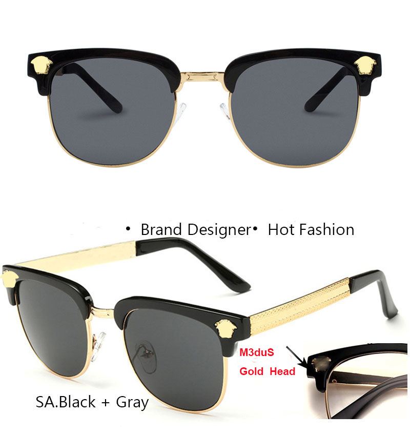 92c2a53028 Steampunk Glasses Gold Men Beauty Head Oversized Brand Designer Half ...