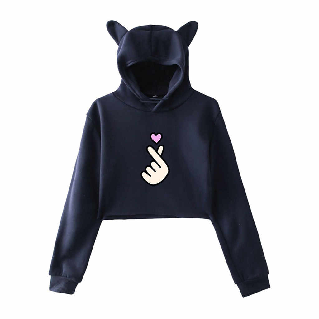 Harajuku Women Hoodies Sweatshirt Kawaii Pink Winter Heart Pattern Long Sleeve Moletom Hooded Sweatshirts Ear Hooed Mujer #B