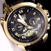 الأصلي JARAGAR ساعة أوتوماتيكية ساعات آلية جلدية توربيون دولاب الموازنة الرجال ساعة اليد relogio masculino