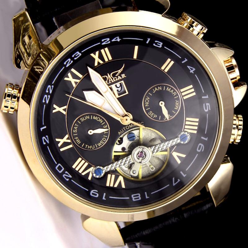 €26.46 |Montre JARAGAR originale montres mécaniques automatiques cuir Tourbillon volant homme montre bracelet relogio masculino in Montres mécaniques