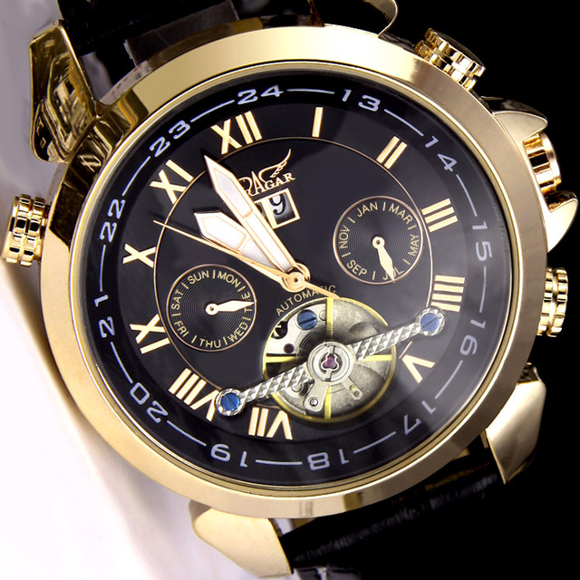 a278539e4f5 Original JARAGAR Watch Automatic Mechanical Watches Leather Tourbillon  Flywheel Men wristwatch relogio masculino