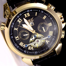 Originele JARAGAR Horloge Automatische Mechanische Horloges Lederen Tourbillon Vliegwiel Mannen polshorloge relogio masculino
