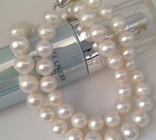 "Selling Jewelry>>AAA GENUINE 18""9-10mm natural South Sea White Pearl Necklace"