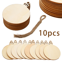 10pcs New Year Decor Wooden Round Baubles Tags Balls Decorations Art Craft Ornaments DIY Wedding Party