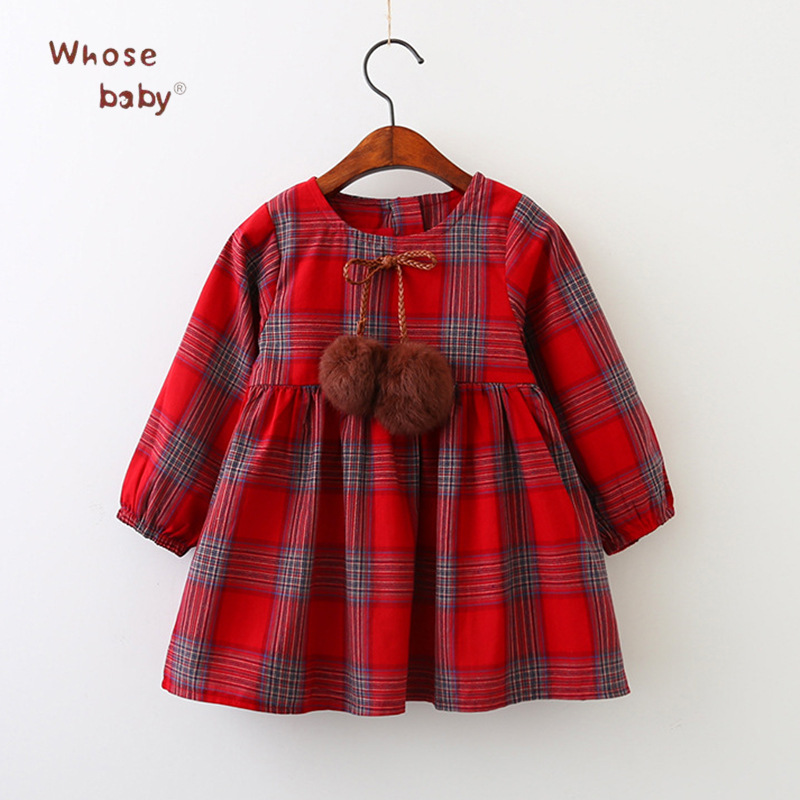 2017 New Autumn Girls Dress Cotton Plaid Infant Costume Long Sleeved Ball Children Clothing Princess Kids Dresses For Girls princess girls long sleeved children s evening autumn new europe and the united states dress kids clothing red silk