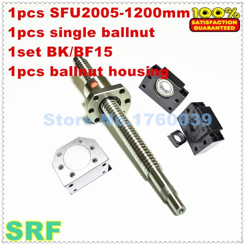 SFU2005 20 мм проката ballscrew комплект: 1 шт. SFU2005-L1200mm + 1 шт. одного ballnut + 1 компл. BK/BF15 + 1 шт. 2005 ballnut корпус для ЧПУ