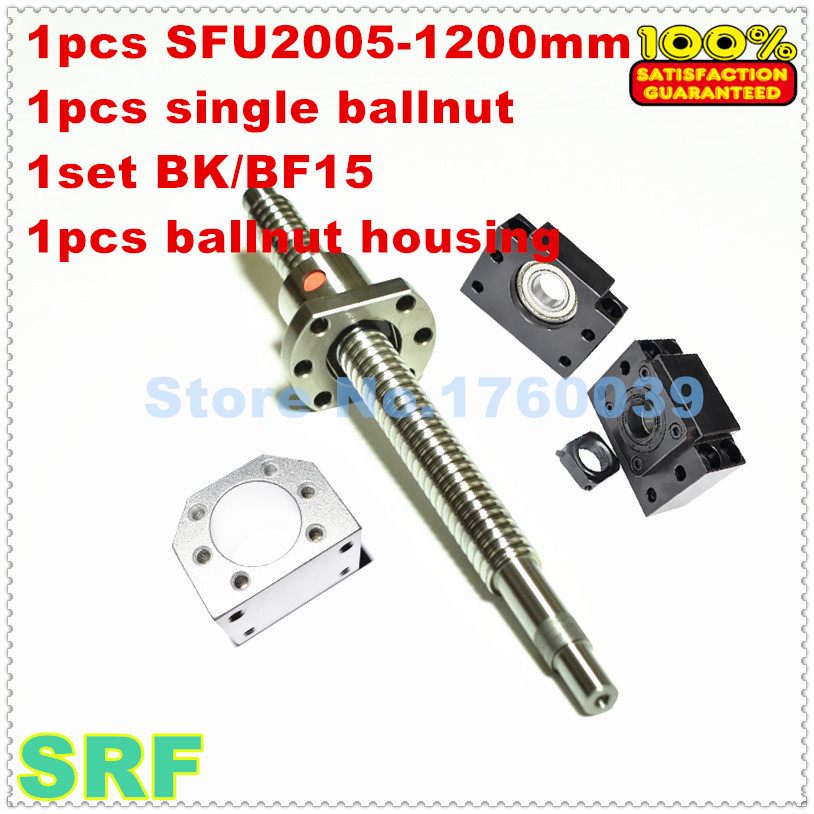 цена SFU2005 20mm Rolled ballscrew set : 1pcs SFU2005-L1200mm+1pc single ballnut +1set BK/BF15 +1pcs 2005 ballnut housing for CNC онлайн в 2017 году