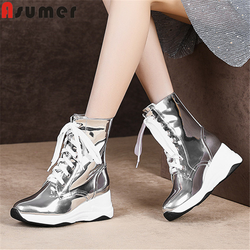 ASUMER 2019 new ankle boots for women round toe lace up ladies shoes zip casual wedges boots elegant genuine leather boots womenASUMER 2019 new ankle boots for women round toe lace up ladies shoes zip casual wedges boots elegant genuine leather boots women