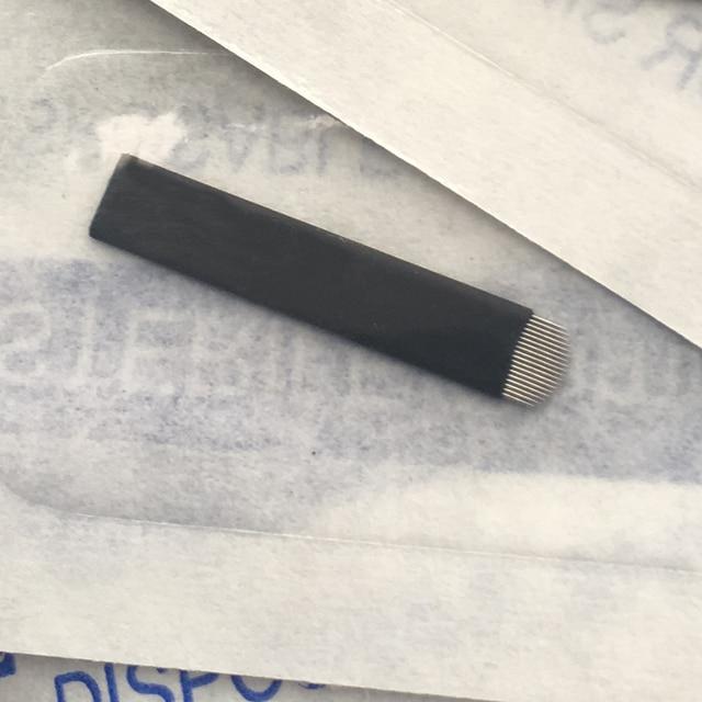 100pcs Black Lamina Microblading Needles 0.18mm U Shape 18 pins Blades 12 14 16 21 Pin Tattoo Needles For Permanent Makeup Pen 3