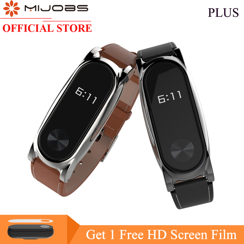 Mijobs Leather Strap For Xiaomi Mi Band 2 Wrist Strap Screwless Bracelet mi band 2 strap Replace Accessories For xiomi miband 2