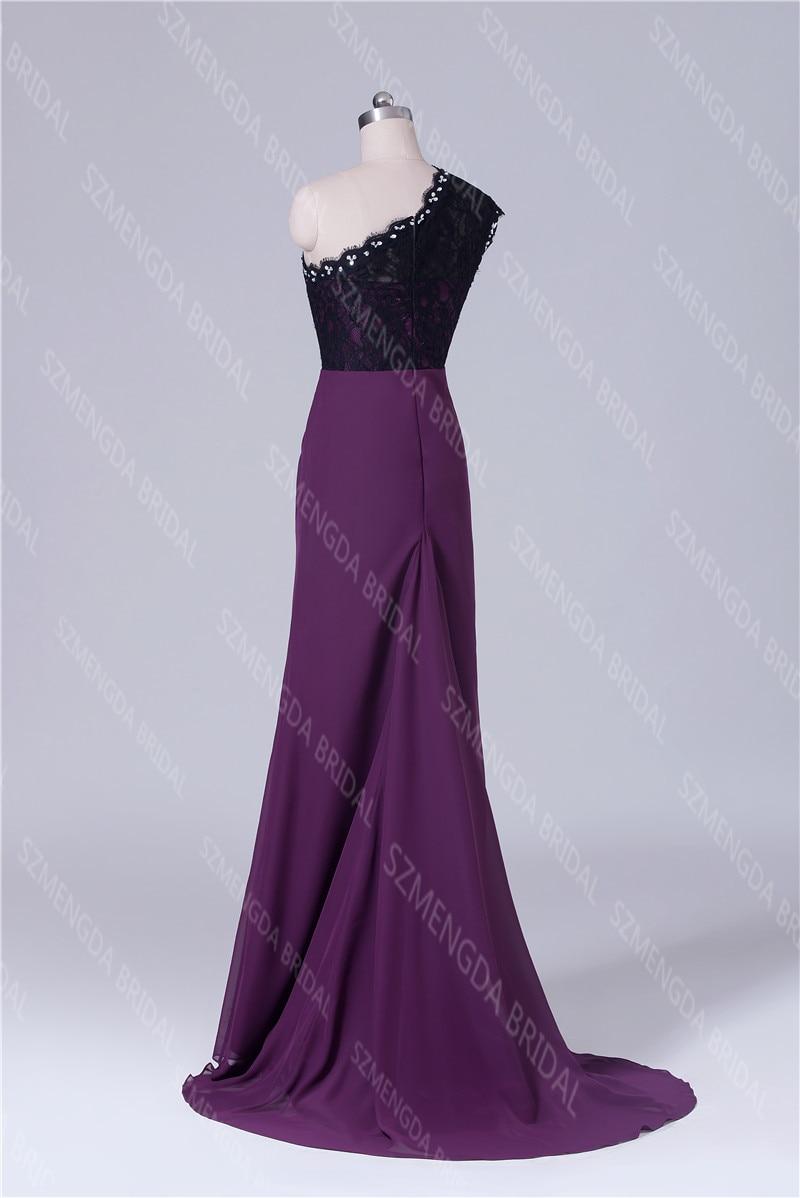 MDBRIDAL Uva Púrpura Vestidos de Dama de Un Hombro Hendidura Lateral ...
