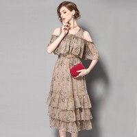 Szyfonowa sukienka z wyciętymi ramiona drukowania poziom liści lotosu szwy odcinek wysokiej goth uprząż talia sukienka SZWL1703501