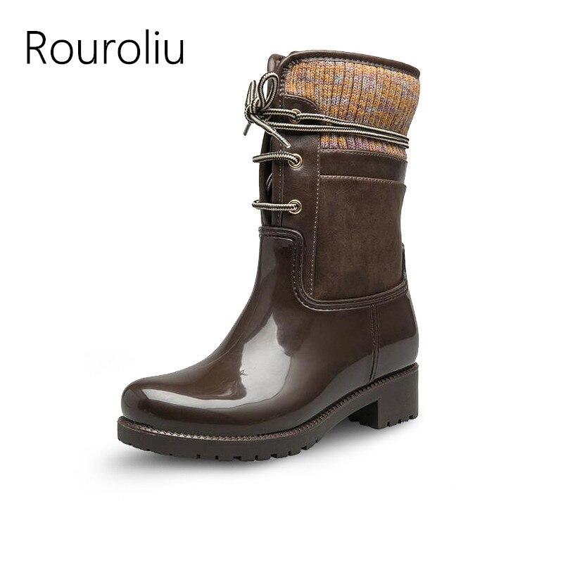 Rouroliu Women Mid-calf Patchwork Rubber Rain Boots Non-slip Winter Warm Boots Waterproof Water Shoes Woman Wellies TR216 rouroliu women non slip mid calf rubber rain boots autumn pvc waterproof water shoes woman wellies slip on rb218