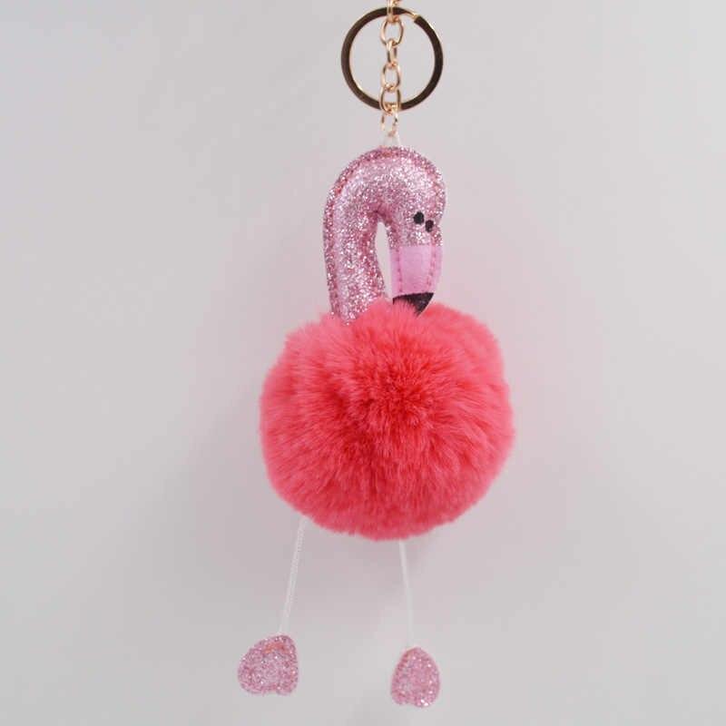 Dễ thương Pompom Móc Khóa Flamingo Keychain Fluffy Nhân Tạo Thỏ Lông Bóng Phụ Nữ thời trang Bag Key Ring Súng Đại Bác Tự xe mặt dây chuyền quà tặng