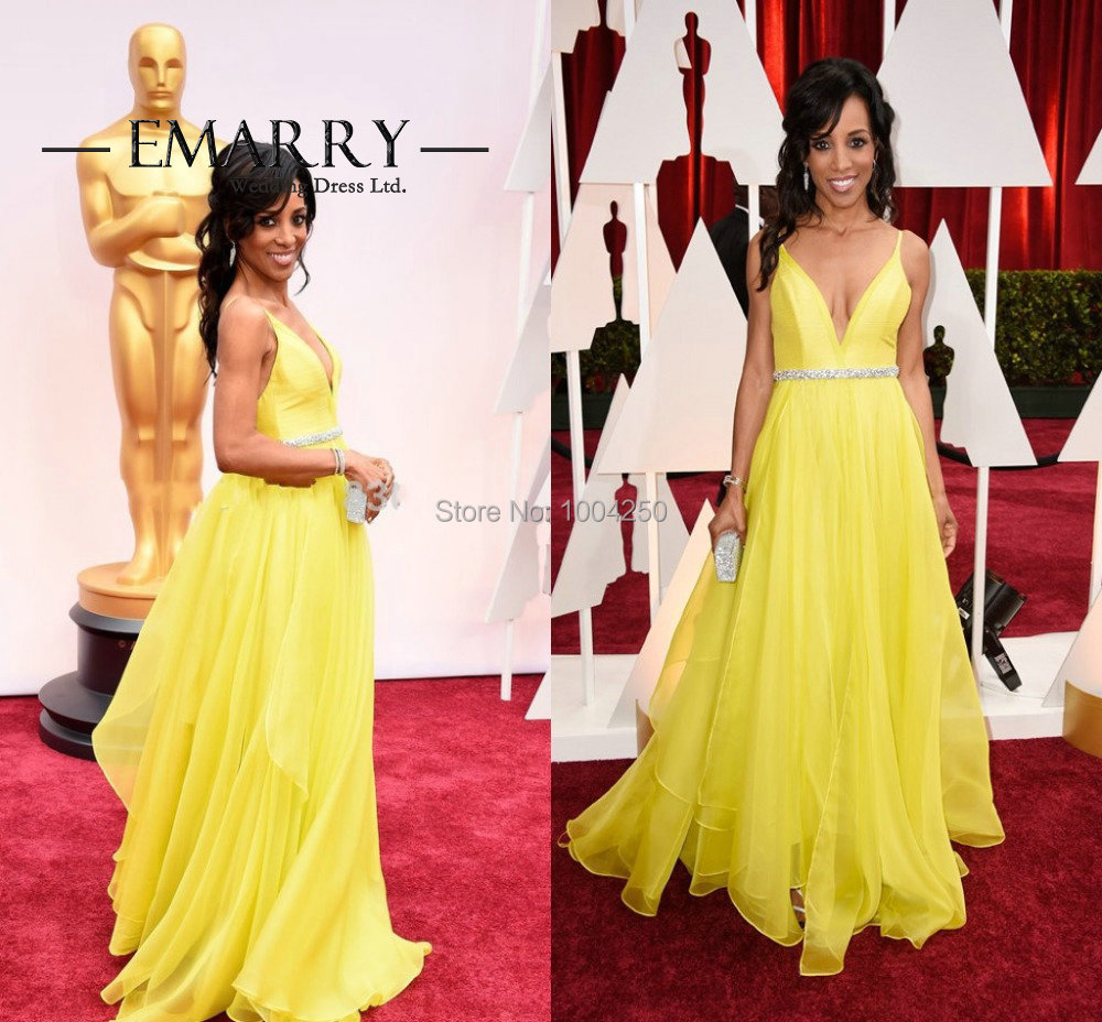 2016 Oscar Shaun Robinson Backless Yellow Evening Dress A Line Red Carpet  Dress Long Chiffon Party Dress-in Celebrity-Inspired Dresses from Weddings  ... deee28bd8a64