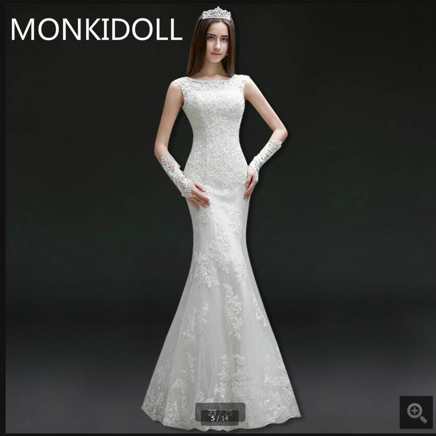 Robe De Soiree Mermaid White Lace Appliques Wedding Dress Sleeveless Beaded Sequins Corset Elegant Wedding Gowns Free Shipping