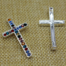 40*22mm Silver Plated Zinc Alloy Clear Rhinestone Crosses Connector Diy Necklace Pendant&Bracelet Connectors For Jewelry Making(China)