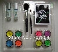 8pcs UV Glitter Tattoo Powder for Body Art Temporary Tattoo /body painting professional glitter tattoo Kit free shipping