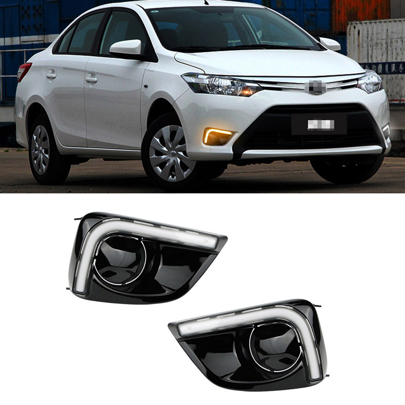 For Toyota Vios 2014 2pcs LED DRL Daytime Running Lights with Yellow Turning Signal 2pcs 48w led work light for indicators motorcycle spot flood beam driving offroad boat car tractor truck 4x4 suv atv 12v 24v