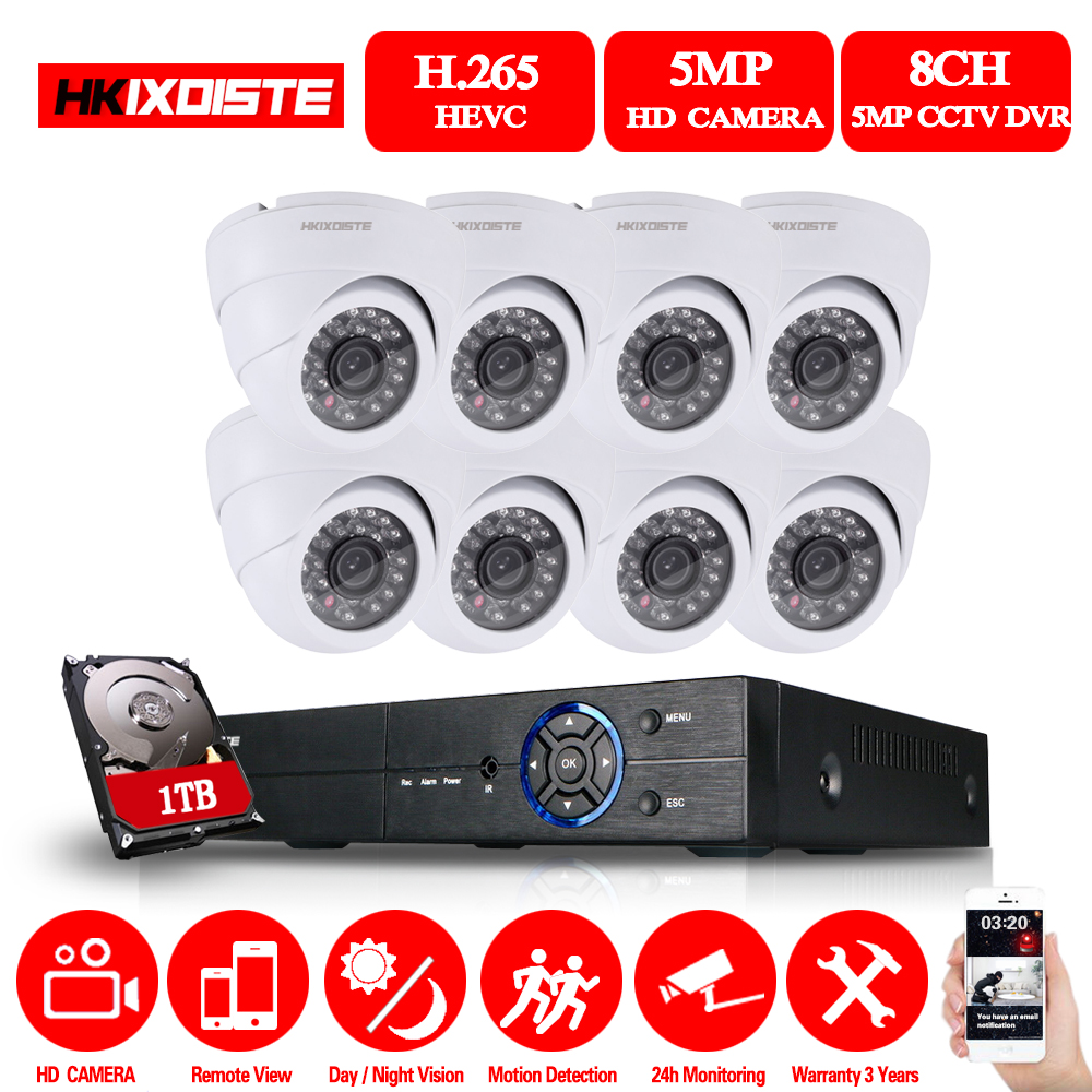 HKIXDISTE 5MP CCTV System 8CH DVR kit 8Pcs 5MP Camera indoor Outdoor Dome AHD CCTV Camera System XMeye Remote View