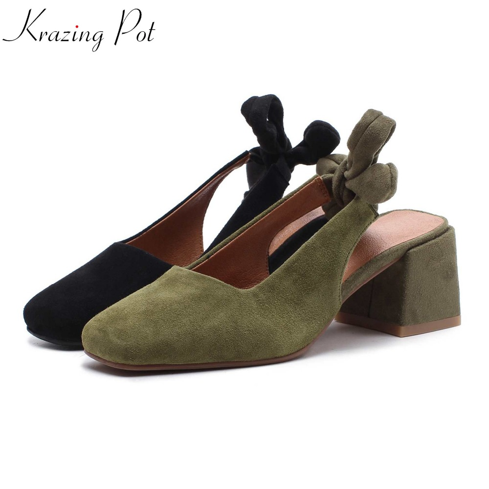 Krazing pot new arrival brand shoes sheep leather square toe high heels ankle lace up green color women butterfly-knot pumps L83 krazing pot 2018 new arrival genuine leather square toe high heels fashion winter shoes handmade zipper women mid calf boots l30