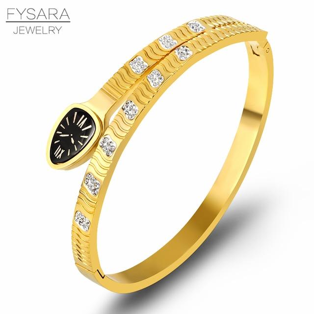 413d48a5d2c FYSARA Zircon Crystals Snake Design Bracelets & Bangles For Women Vintage  Bangles Stainless Steel Gold Silver Color Jewelry