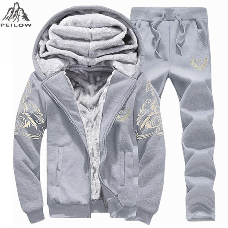 PEILOW Tracksuit Men Casual Warm men`s Sportwear Hooded Winter Thick fleece Cardigans Sets Moleton Masculino Sweatshirt Men Set