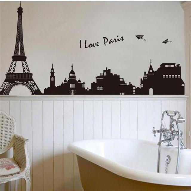 I Love Paris Eiffel Tower Wall Stickers Bedrooms Office Home Decorations  7199. Diy Adesivo De