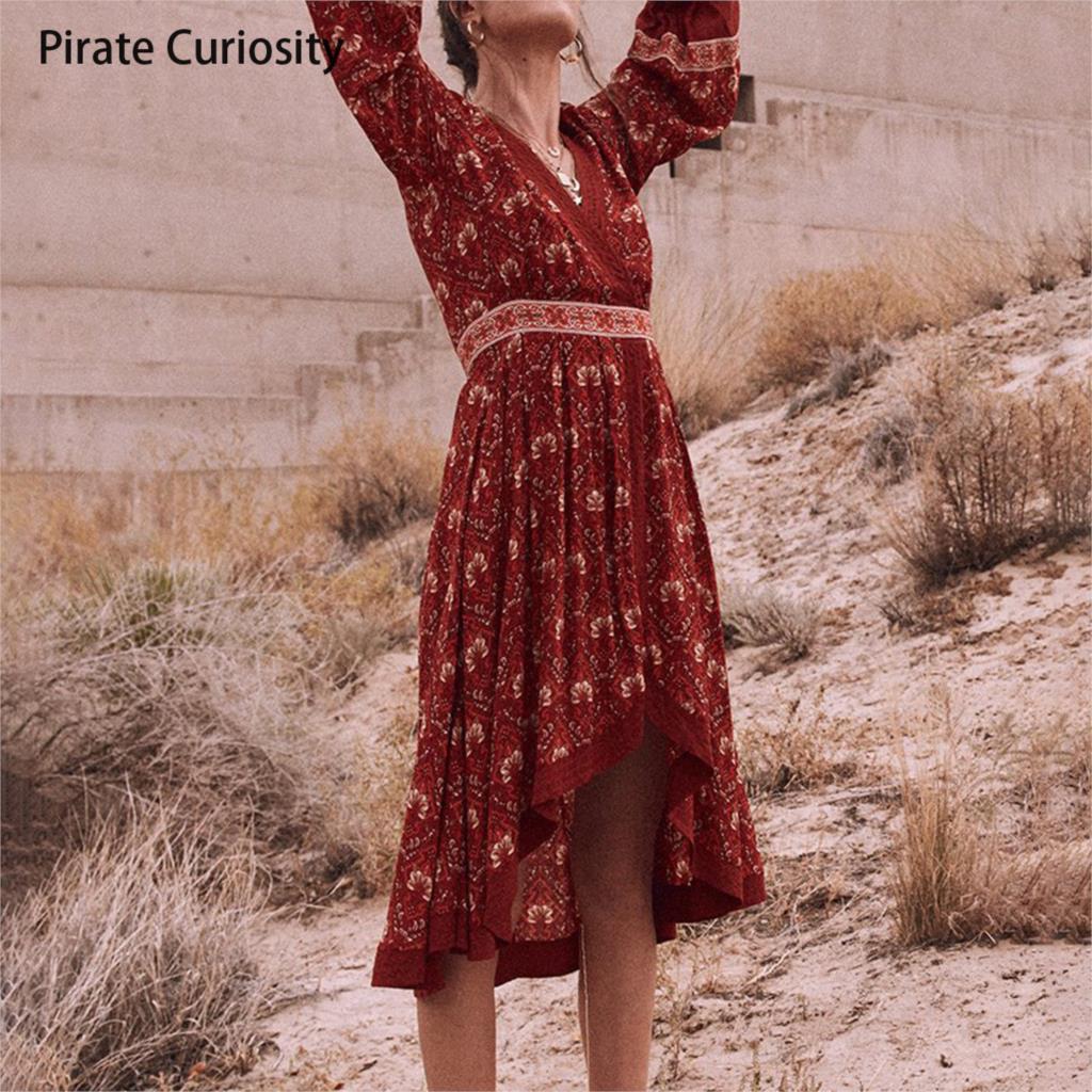501117aa5d Pirate Curiosity Elegant Summer Women Casual Vintage Red Floral Print Long  Sleeve Retro High Waist Dresses
