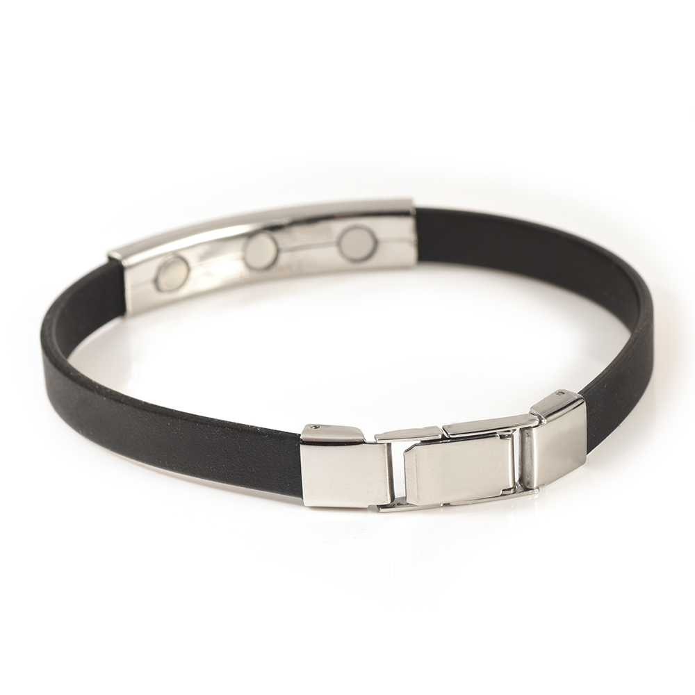 Wollet Jewelry Black Silicone Stainless Steel Magnetic Bracelet Bangle for Women Men Sport Wristband Bio Magnet Silver Color in Chain Link Bracelets from Jewelry Accessories