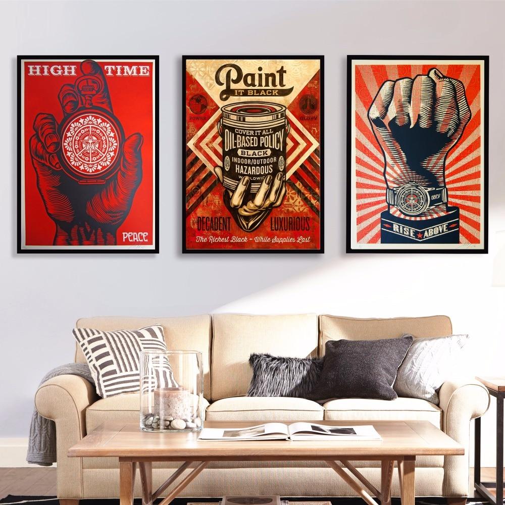 Living Room Art Printables: Aliexpress.com : Buy Shepard Fairey Street Artwork Canvas