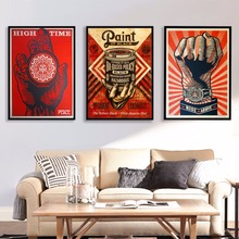 ФОТО Shepard Fairey Street Artwork Canvas Art Print Painting Poster Wall Pictures  Living Room Decor Home Decorative No Frame
