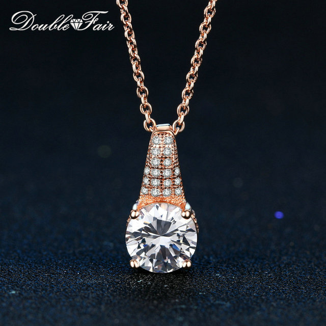 Double Fair Brand Micro Pave CZ Stone Necklaces & Pendants 18KRGP Fashion Cubic Zirconia Jewelry For Women Accessiories DFN317
