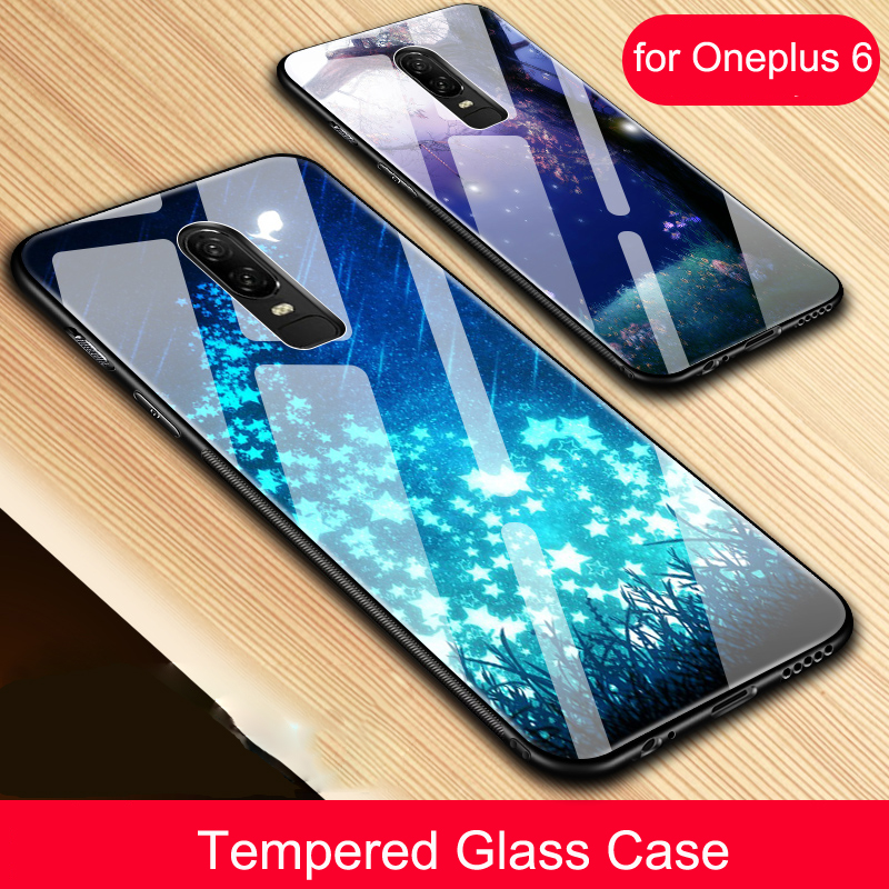 Tempered Glass Cases for Oneplus 6 5 5t Case HD Pattern Anti-shonck Cover for Oneplus6 Oneplus5 Oneplus5t Bumper Funda Fashion