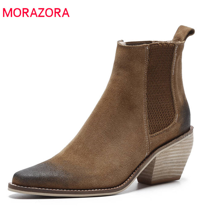 MORAZORA 2018 new arrival ankle boots for women suede leather autumn boots pointed toe slip on high heels shoes woman оголовок скважинный джилекс осп 90 110 32