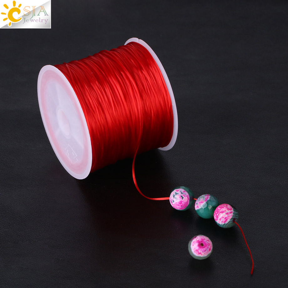 CSJA 60M Imported 0.25mm Stretch Elastic Crystal Line String Cord Rope Roll Beaded Strand Bracelet DIY Making Multi Color F296